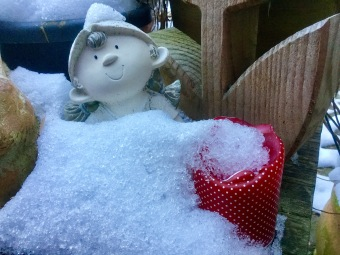 Schneedecke für die Gartenwächterin
